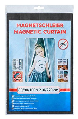 EXTRA BREIT MAGNETVORHANG INSEKTENSCHUTZ SCHWARZ 140/150/160 x 210/220 cm FLIEGENGITTER MAGNET