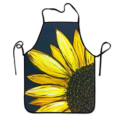 Liubajsdj-Waist Adjustable Professional Apron Kitchen Sunflower Floral Art Woman Aprons Comfortable Perfect For Cooking Guide