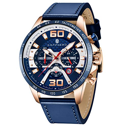 Orologio Uomo SAPPHERO Cronografo Cinturino Pelle Calendario Luminoso impermeabile Quarzo Analogico Sportivo Militare per il Tempo libero d'affari Orologi da polso Uomo Grandi Dimensioni