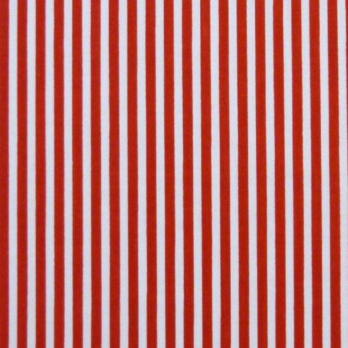 3mm Rojo y Blanco Rayas Tela de polialgodón (por metro)