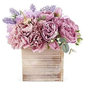 Silk Flower Arrangements Faux Flower Arrangement in Vase - Life Like Silk Flower Bouquet Set in Wood Square Planter - Faux Flower Set Ideal for Wedding, Party, Décor – Pink Flowers for Dining Room or Kitchen