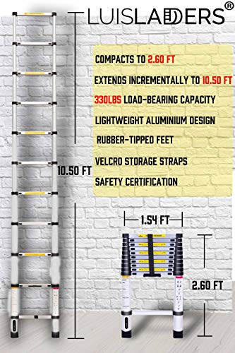 Telescoping Ladder 10.5 FT, Aluminum Extension Ladders for Home Use Roof RV Outdoor Activities