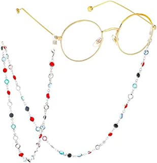 Gooder Sunglass Holder All Colorful Crystal Diamond Beads Reading Glasses Cord Strap Eyeglasses Chain Eyewear Retainer Glasses Chains Lanyards (Silver)