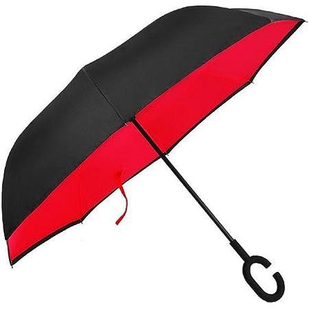 Parapluie r/éversible//à double couche AmaGo avec une poign/ée en C/; pliable sur l/'envers et permet de se lib/érer les mains/; avec un sac de transport pour faciliter le transport A Moon Star L
