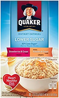Quaker Instant Oatmeal Low Sugar Fruit & Cream, Variety Pack, 12.3-Oz, 10-Count Boxes (Pack of 4)