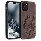 kwmobile Cover Compatibile con Apple iPhone 12/12 PRO - Hard-Case in Legno con Bumper TPU - Bussola Legno Marrone Scuro