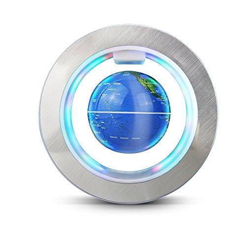 EASY EAGLE Mappamondo Magnetico 6 Pollici, Globo Fluttuante Levitazione Elettronico con RGB Luce LED per Decorazione della Casa Ufficio Regali d Affari Studente Educazione - Blu