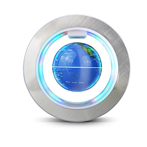 Aukee Magnetic Floating Globe World Map Circular Frame with Colorful LED for Home Office Desk Decoration 6 inch Blue