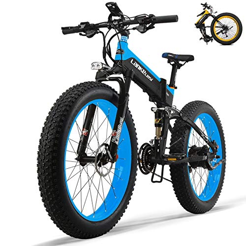 HUIIT Fat Tires Folding Electric Bikes for Adults 26'' Mountain Electric Bicycle 48V 13Ah Ebikes with 27 Speed Gear 1000W Fast Battery Charger Electric Lock,Blue
