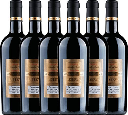 VINELLO 6er Weinpaket Primitivo - Primitivo di Manduria Riserva 2016 - Conte di Campiano mit Weinausgießer   halbtrockener Rotwein   italienischer Wein aus Apulien   6 x 0,75 Liter