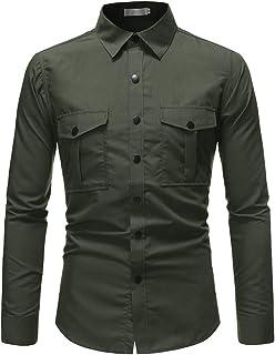 Camisa de manga larga de color sólido con hebilla de cuatro botones para hombre