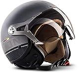 Soxon SP-325 Motorrad-Helm, ECE Visier Schnellverschluss Tasche, M (57-58cm), Titanium Ace