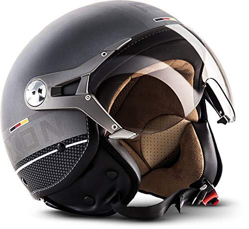 "SOXON® SP-325 Plus ""Titanium Ace"" · Jet-Helm · Motorrad-Helm Roller-Helm Scooter-Helm Moped Mofa-Helm Chopper Retro Vespa Vintage Pilot Biker · ECE 22.05 Visier Schnellverschluss Tasche M (57-58cm)"