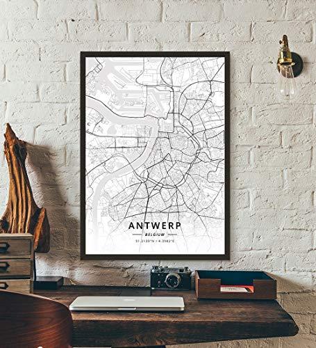 ZWXDMY Leinwand Bild,Belgien Antwerpen Stadtplan Schwarze Und Weiße Minimalistische Text Abstrakt Leinwand Poster Malerei Wandbild Cafe Office Home Einrichtung, 50 × 70 cm