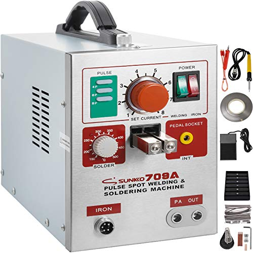 Mophorn 709A Pulse Spot Welder 0.3mm Battery Welding Machine 110V Battery Spot Welder and Soldering Station Portable Pulse Welding Machine for Battery Pack 18650 14500 Lithium Batteries