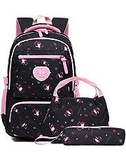 Zaino Scuola Elementare Ragazze Impermeabile Zaini Bambino Sacchetti di Scuola leggero campeggio borse casual Daypacks per adolescenti studenti 3 pezzi(Nero)