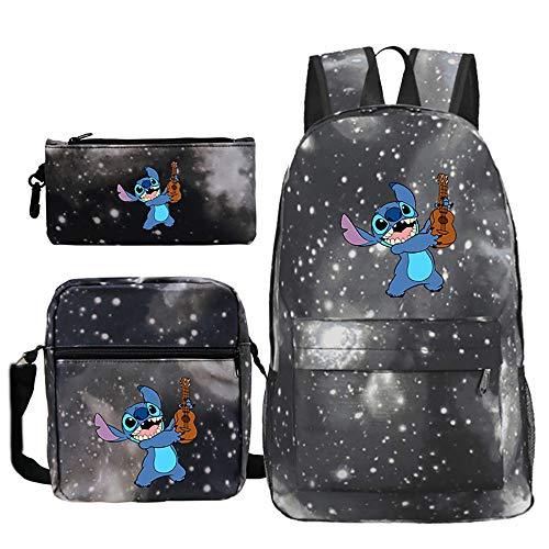 Lilo and Stitch Zaino moda selvaggia impermeabile leggero Laptop Backpack borsa tracolla sacchetto della penna insieme casuale Trend Semplice Studente Zaino modo dei bambini zainetto zaino da viaggio
