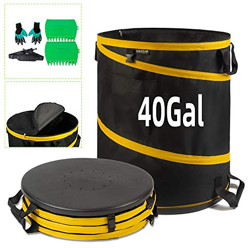 40 Gallon Leaf Bags Pop Up Trash Camping Can Yard Waste Garden Bag Container  Reusable Collapsible Garden Bags for Gardening Home Storage Multipurpose Foldable popup Lawn Garden Garbage Bags