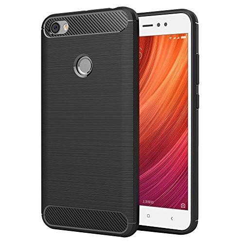 MaiJin 対応シャオミ Xiaomi Redmi Note 5A / Redmi Note5A Prime (5.5インチ) 衝撃吸収 ケース スリム 軽量 炭素繊維TPU保護カバー (ブラック)