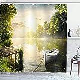 Duschvorhang Natur Duschvorhang Wasserdichter Badevorhang Olivgrün Bad Siebdruck Vorhang für Badezimmer Geschenk