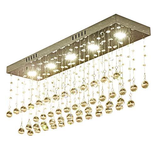 Hancoc Lámpara de techo rectangular de lujo de cristal cromado de acero inoxidable LED lámpara de techo 3 colores regulable decoración del hogar comedor entrada 80 * 20 * 33 cm
