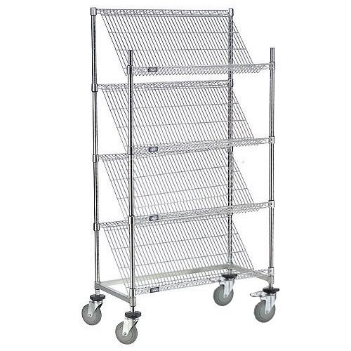 Chrome Slant Wire Shelving Truck, 4 Shelves With Brakes, 36