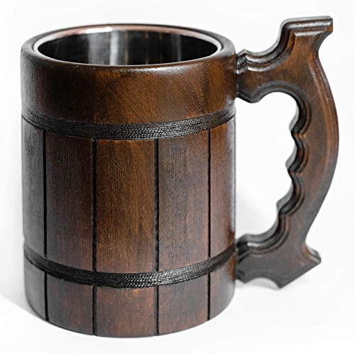 Wooden Mug with an Improved Handle Handmade Wooden Beer Mug of Wood Eco Friendly Wooden Beer product image