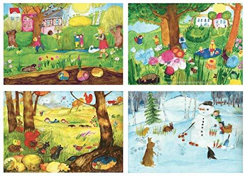 Jahreszeitenbilder im SET von E.M.Ott-Heidmann in DIN A3 vom schnurverlag