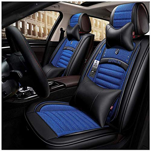 Wmxcz Leather Car Seat Cover Sets,Universal Linen/Flax Nonslip and Breathable Buckwheat shell for 5-Seats, 9 Pieces (Color, PURPLE),Blue