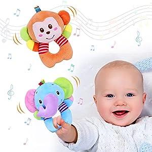 Vacoulery Sonajero de Juguete Muñeca de Peluche, 2 Piezas Peluches Suaves de Bebe Sentido Animales Felpa Juguete, Bebé Instrumento Sentido Bebé Infantil 3 6 9 12 Meses (Elefante, Mono)