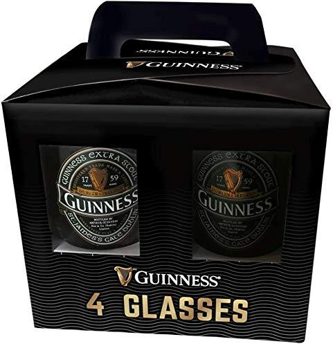 Juego de 4 vasos oficiales Guinness con diseño de rubí e Irlanda