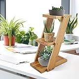 Expositor para plantas de madera, 3 estantes de bambú, estantería para jardinera, soporte para macetas de flores y plantas de mesilla y sala de estudio, 25 x 18 x 9,2 cm