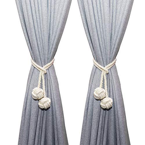 MengH-SHOP Cortina Abrazaderas Tejer a Mano Cortina Cuerda Colgante Sujetar Cortina Clips Tejido de Algodón Hilo Atados de Cuerda con Doble Bola de Nudo, Beige (1 Par)