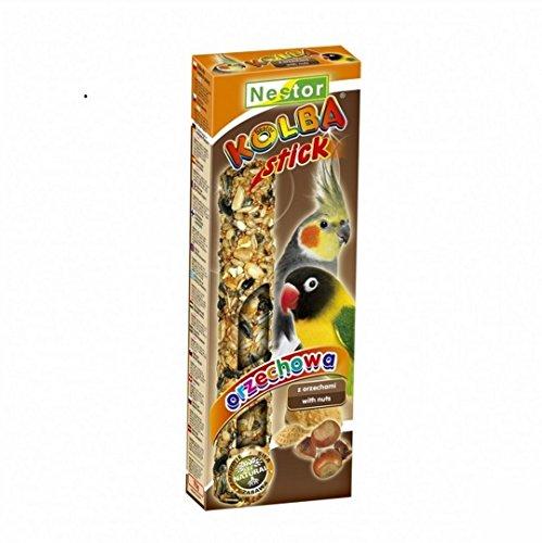 2 Stück Knabberstangen Kräcker STICK für Papageien und Großsittiche Futtermischung mit Nüssen