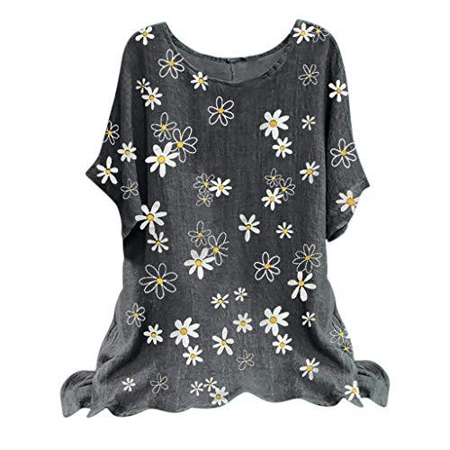 BHYDRY Frau Vintage Baumwollmischung O-Ausschnitt Kurzarm Blumendruck Top T-Shirts Bluse