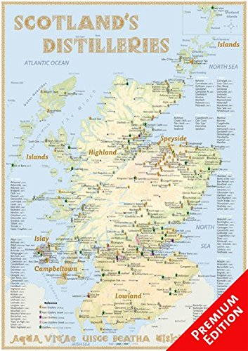 Whisky Distilleries Scotland - Poster 42x60cm Premium Edition: The Scottish Whisky Landscape in Overview: The Whiskylandscape in Overview - Maßstab 1:1.000.000