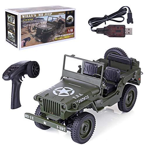 Myste Coche teledirigido Offroad 1:10 4WD 2.4Ghz Jeep Coche todoterreno teledirigido Buggy vehículo militar RC camión teledirigido con iluminación LED, regalo para niños y adultos