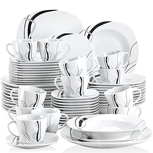 VEWEET Fiona Juegos de Vajillas 60 Piezas de Porcelana con 12 Taza 175 ml, 12 Platillos, 12 Platos, 12 Platos de Postre y 12 Platos Hondos para 12 Personas