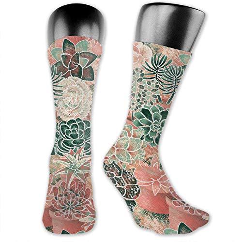 Drempad Luxury Calcetines de Deporte Succulent Garden Pattern Socks For Men Or Women, All-Season Lightweight Mid Calf Crew Socks