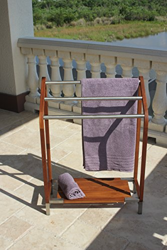 AquaTeak Sula Teak & Stainless Steel Towel Stand