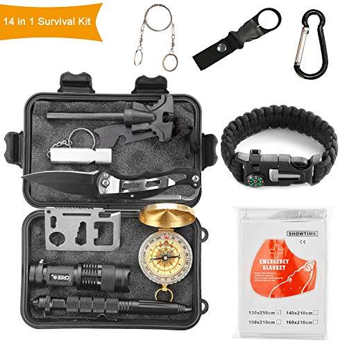 Halcent Überlebensausrüstung 14 In 1 Notfall Survival Kit Set Outdoor Überlebenspaket mit Feuerstein,Rettungsdecke,Kompass,Signalpfeife usw für Camping Wandern Reisen
