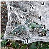 Decorazioni di Halloween 1/2 set Tela di Ragno Bianca di ragnatele estensibili con 30 Ragni Falsi Ragnatela spettrale all'aperto Coperta Ragnatela per Decorazioni spaventose per Feste di Halloween