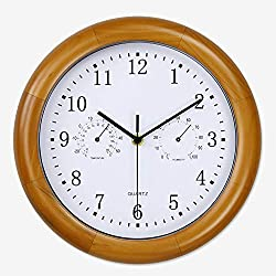 XXBR Wall Clock Silent Wood,Radio Controlled Large (26cm) Non Ticking Decorative Wall Clock with Quartz Movement Battery Operated Clock Gift Home Décor