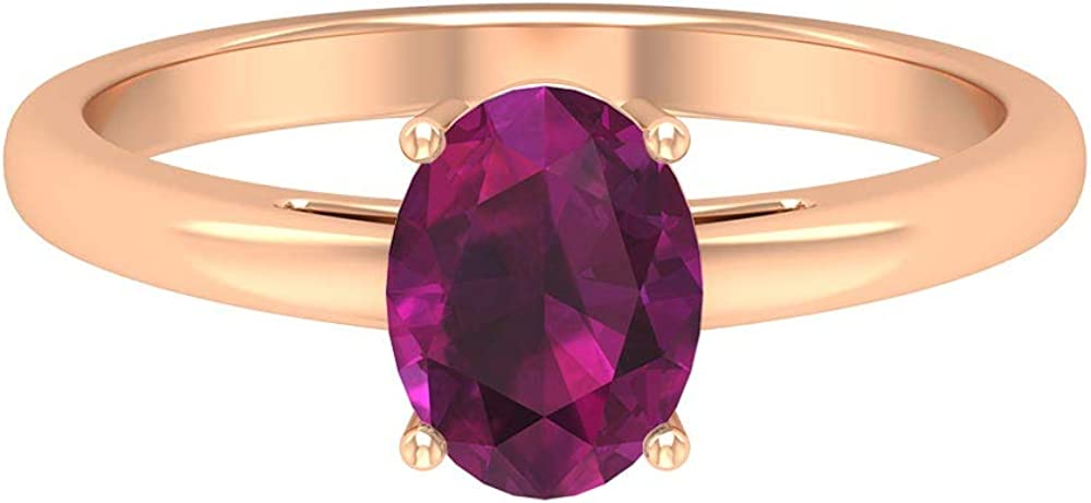 June Birthstone - 8X6 MM Oval Rhodolite Ring 5 popular Enga Cut Solitaire High material
