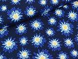 Swafing Baumwolljersey Amsterdam Blumen bunt auf Tiefblau