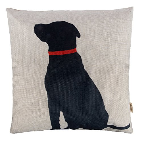 Fjfz Cotton Linen Home Decorative Throw Pillow Case Cushion Cover for Sofa Couch Black Dog with Red Collar Lab Décor Dog Lover Decoration, 18' x 18'