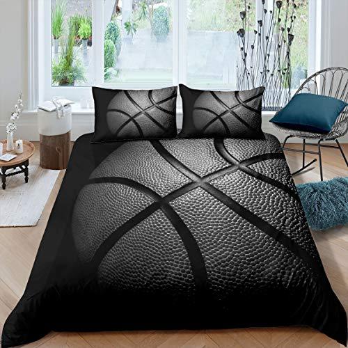 Loussiesd Juego de ropa de cama para niños y niños, diseño de baloncesto, 135 x 200 cm, con cremallera, microfibra suave