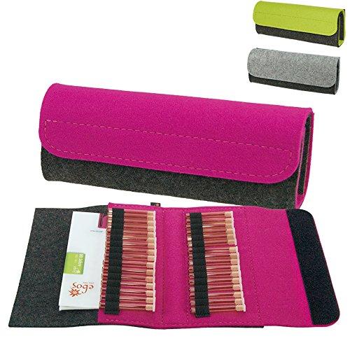 Premium Taschenapotheke von ebos   handgefertigte Reiseapotheke aus echtem Wollfilz   32 Schlaufen für Globuli-Röhrchen   Globuli-Tasche, Globuli-Etui, Globuli-Mäppchen zur Aufbewahrung von homöopathischer Hausapotheke   pink