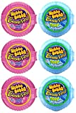 Hubba Bubba Gum, Bubble Tape, Original and Sour Blue Raspberry, 3 of Each (Pack of 6) - with Two Make Your Day Lollipops