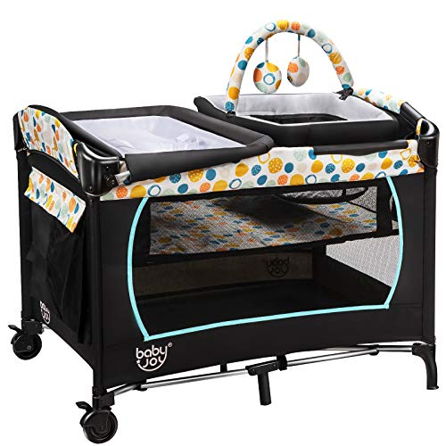 GYMAX Baby Travel Cot, 4 in 1 Bassinet Bed Activity Play Center with Mattress, Changing Table, Cradle and Carrying Bag, Foldable Infant Playpen Entryway